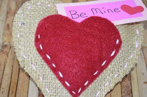 Kid's Homemade Valentine Idea: Stitched Burlap Heart Pillow - The Kid's Fun Review
