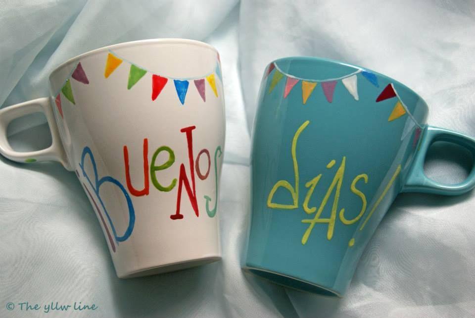 The yllw line tazas de desayuno pintadas a mano diy for Tazas para desayuno