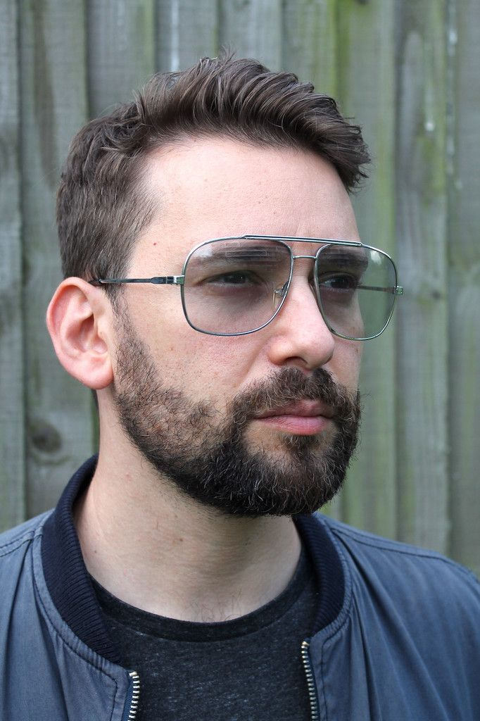Vintage aviator sunglasses from the 70s with a square silver frame ...