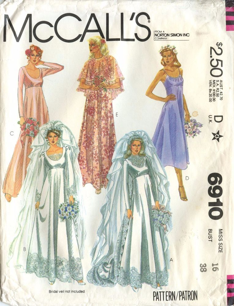Mccall S Sewing Pattern Wedding Dress Bridal Gown With Train 6910 Size 16 Uncut Wedding Dress Sewing Patterns Wedding Dress Patterns Retro Wedding Dresses