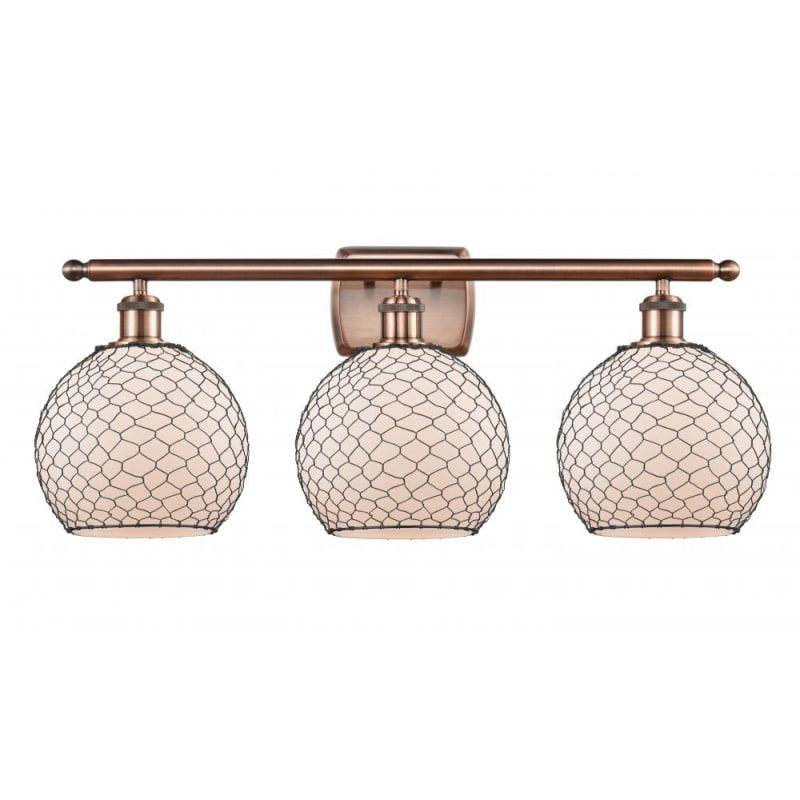 Photo of Innovations Lighting 516-3W Farmhouse Chicken Wire Farmhouse Chicken Wire 3 Ligh Antique Copper / White / Black Indoor Lighting Bathroom Faucets