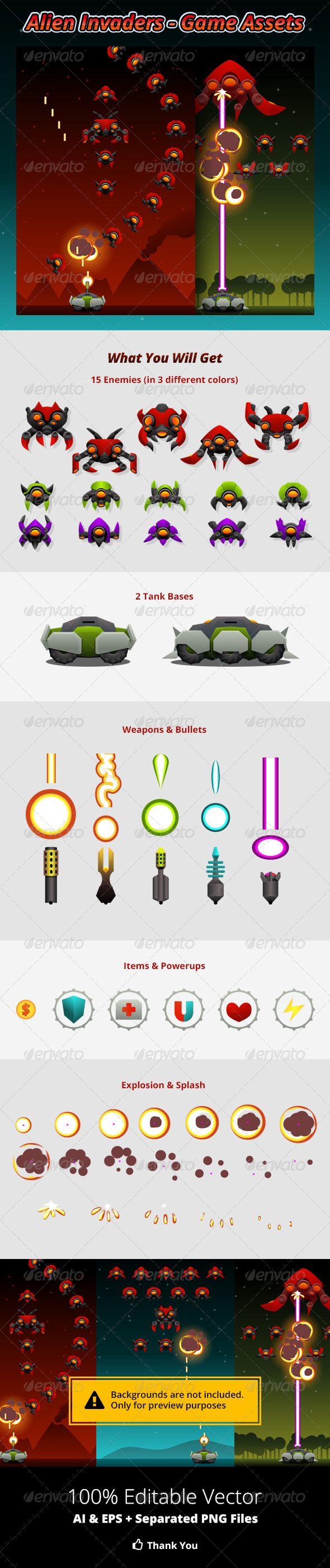 Alien Invaders Game Assets Game Assets Alien Invader Space Invaders Game