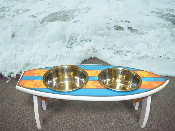 Surfboard Dog Feeder Surfboard Elevated Feeder For Dogs Beach Themed Dog Bowl Beach Dog Feeder Elevated Dog Feeder Elevated Dog Feeder Dog Feeding Station