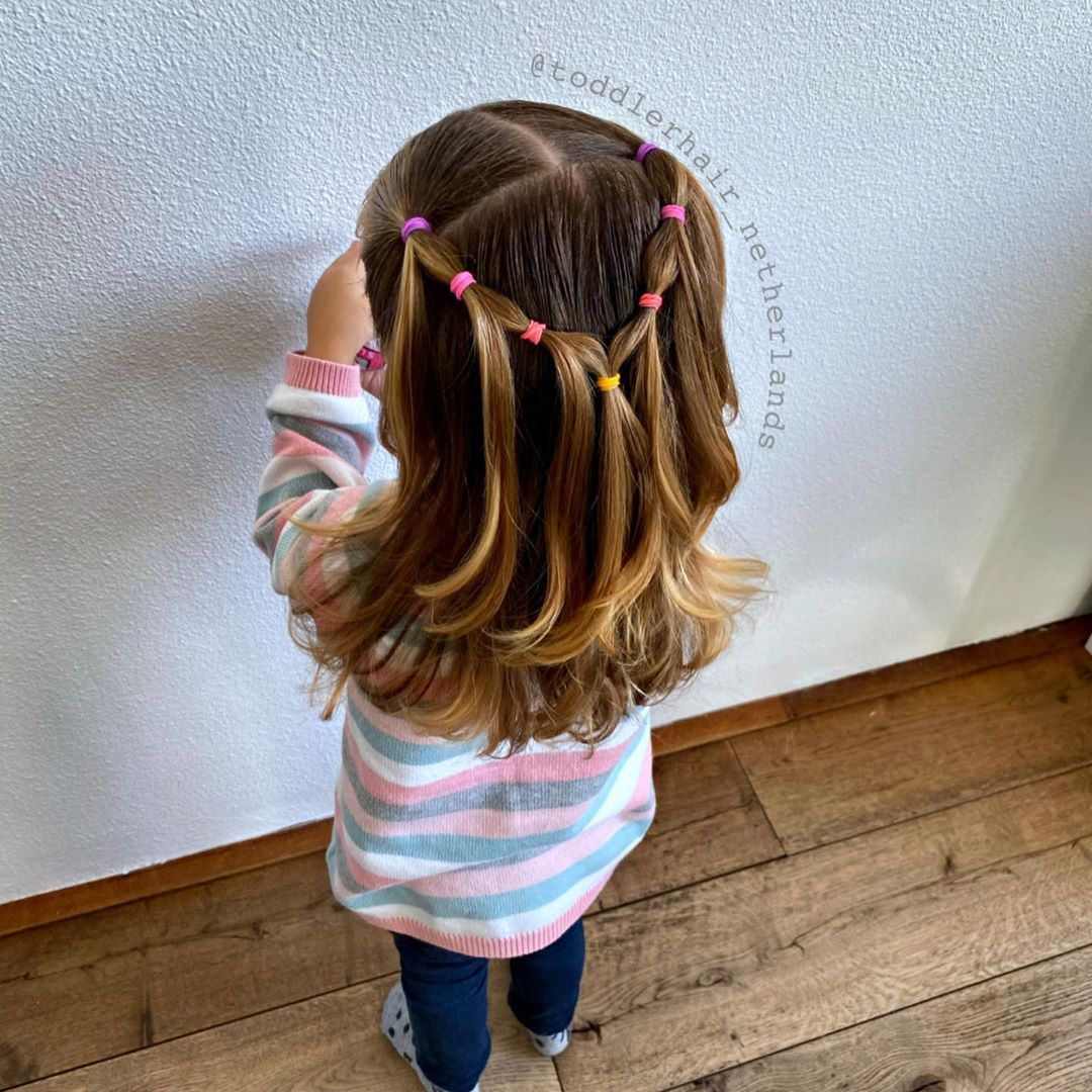 "Alix's Hairstyles on Instagram: ""I made this quick and easy elastic waterfall style on Alix today  I saw it a couple weeks ago at Tiffany @easytoddlerhairstyles and just…"""