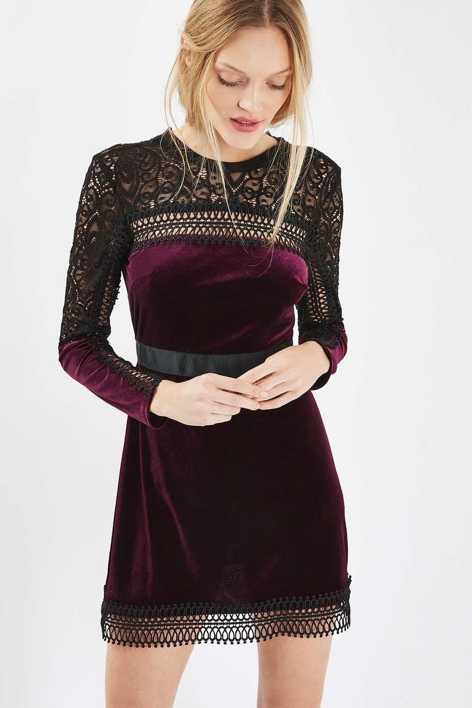 7e7d3e3ede PETITE Velvet Lace Trim A-Line Dress
