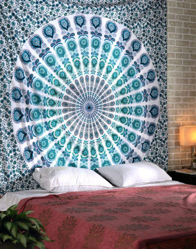 Indian Elephant Mandala Wall Hanging Twin Tapestry Bohemian Bedding Decor Throw