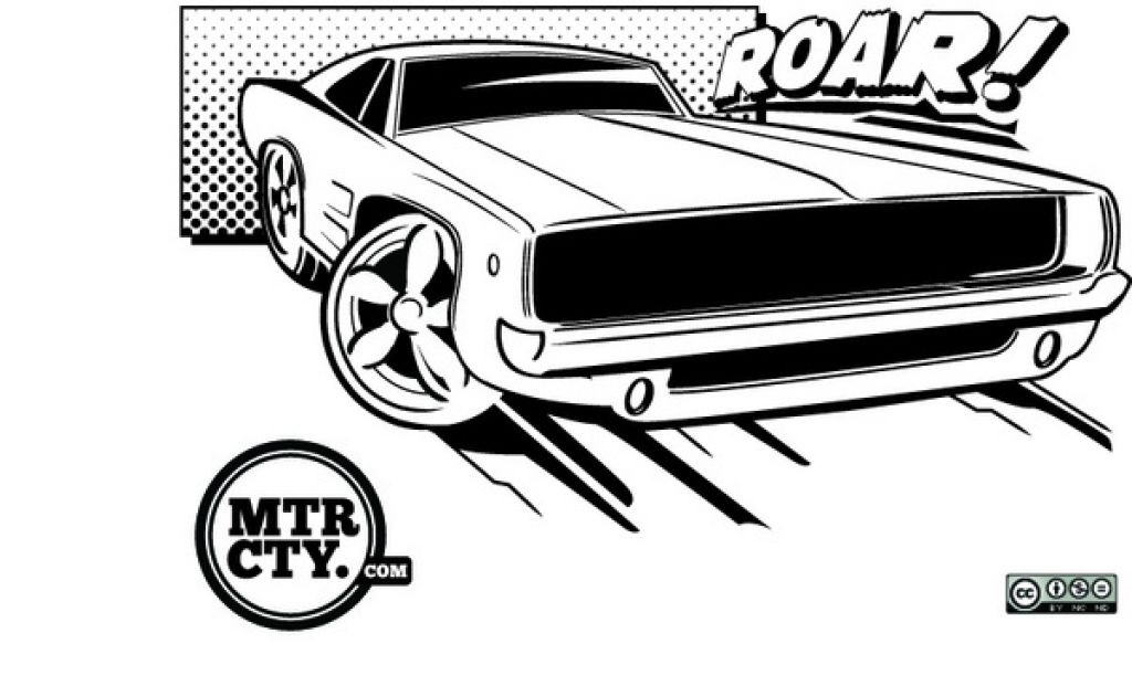A Roaring Muscle Car Coloring Page For Children