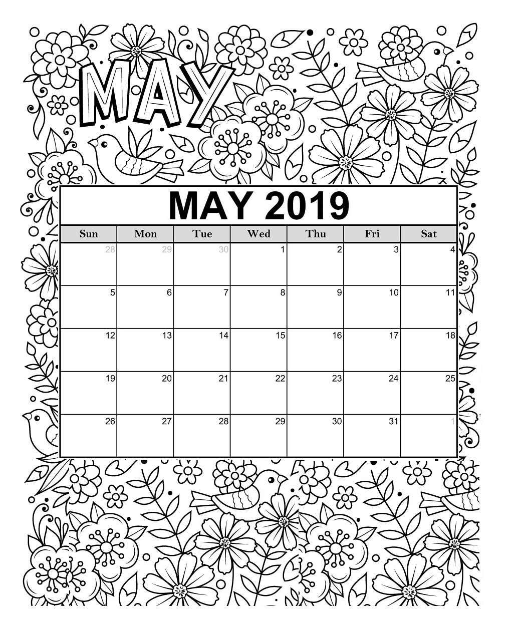 Free 2019 Printable Coloring Calendar Pages | Coloring ...