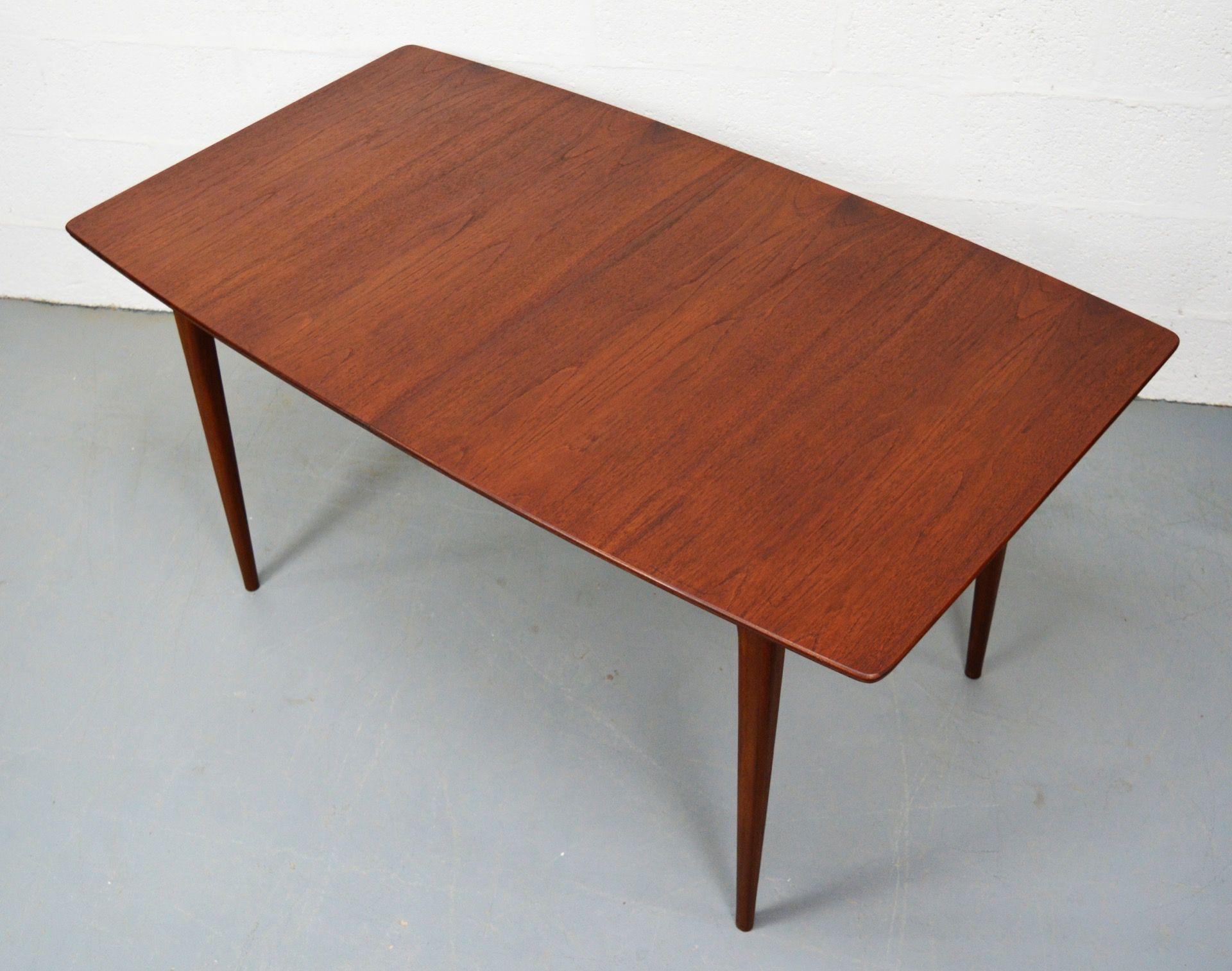 mid century teak boat shaped dining table by mcintosh layer