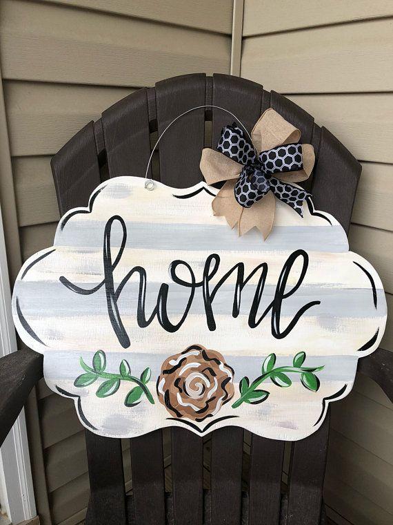 Photo of Farmhouse home wooden door hanger, home door hanger, neutral door hanger