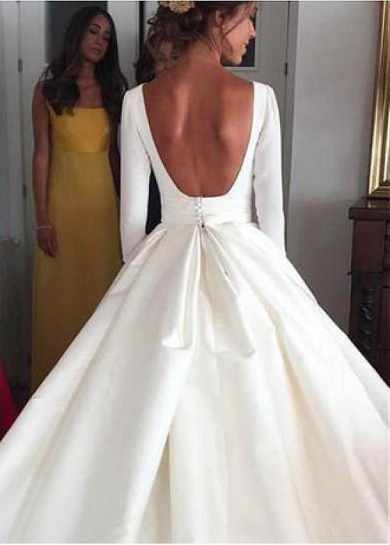 Wedding Dresses Ball Gown Simple Satin Bateau Neckline Backless Natural Waistline A Line Wedding Dress Ball Gowns Wedding Ball Gown Wedding Dress Wedding Dress Long Sleeve