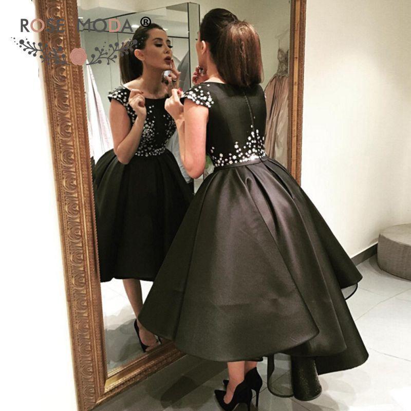 Aliexpress.com : Buy Short Cap Sleeves Bateau Neck Black High Low Prom Dress …