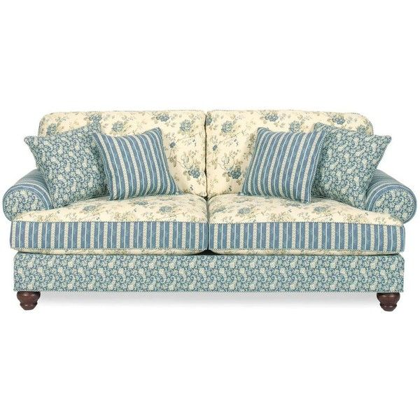 Country Living Room Furniture Couches: Carolines Cottage Country Blue Sofa ($714) Found On