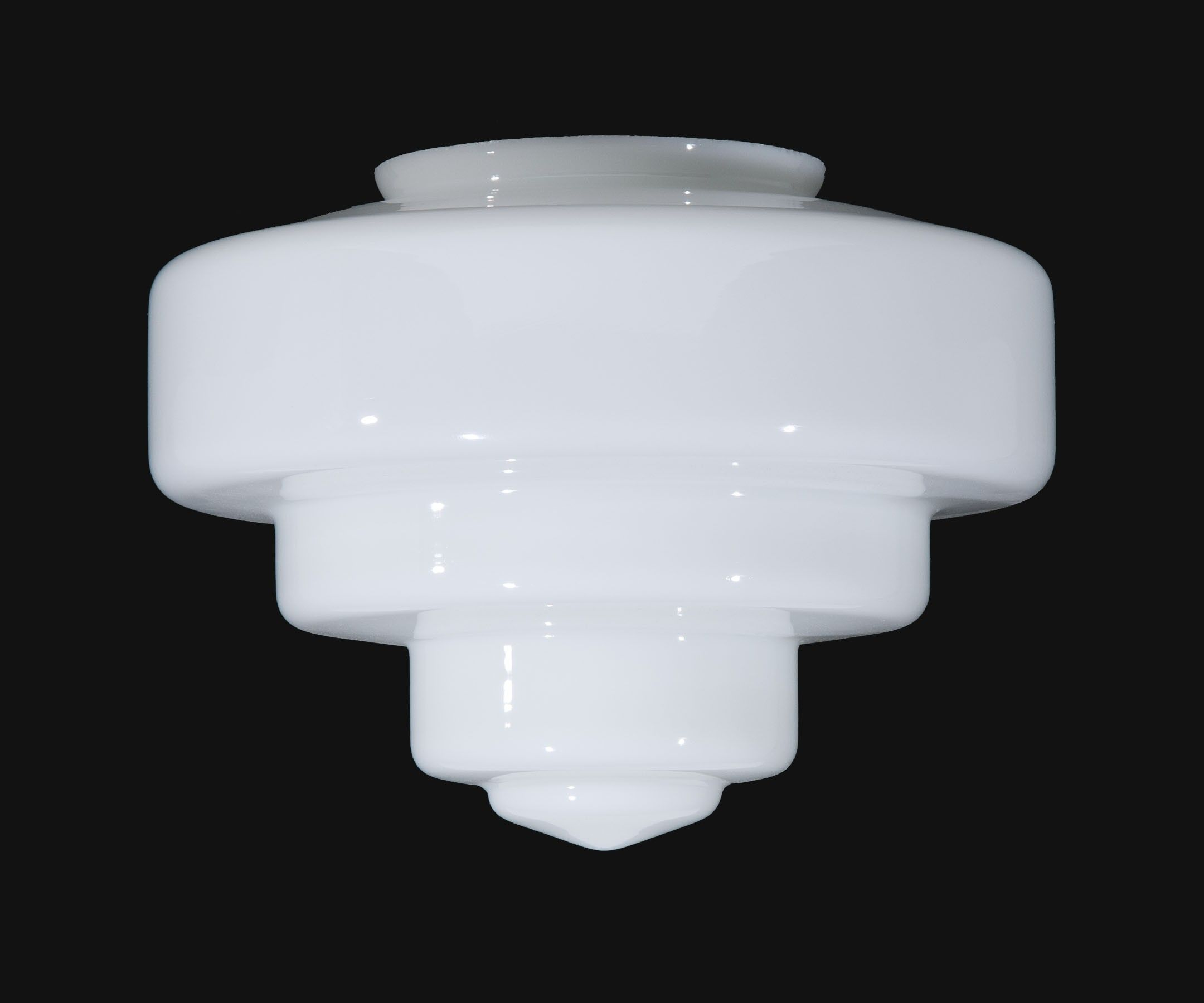 11 3 4 Tiered Opal Glass Art Deco Shade 6 Inch Lip Fitter