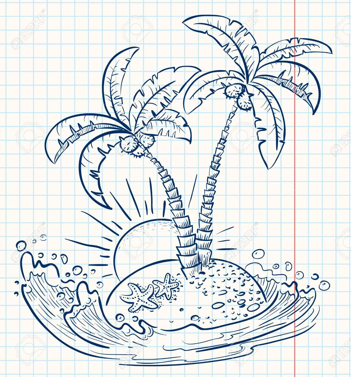 9455693 tropical cute island doodle version stock vector for Cute tree drawing