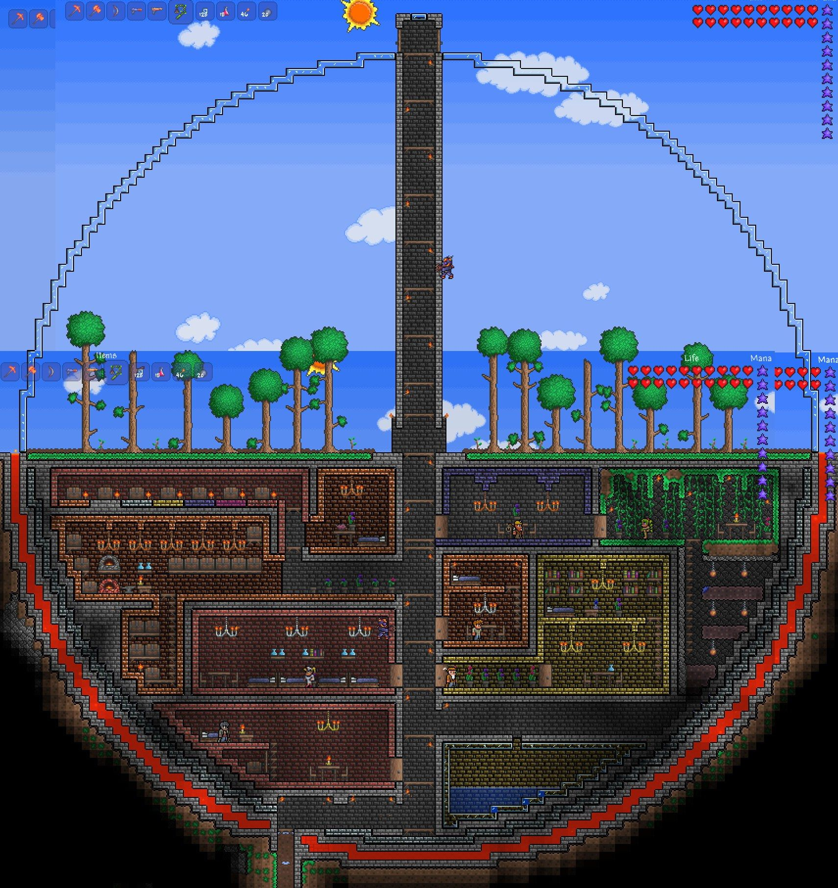 Terarria Biodome Circles Are Cool Geeky Me Terraria Wiring Traps House Ideas Minecraft Creations