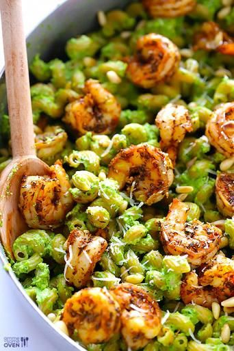 ASPARAGUS, SPINACH PESTO PASTA WITH BLACKENED SHRIMP - (Free Recipe below)