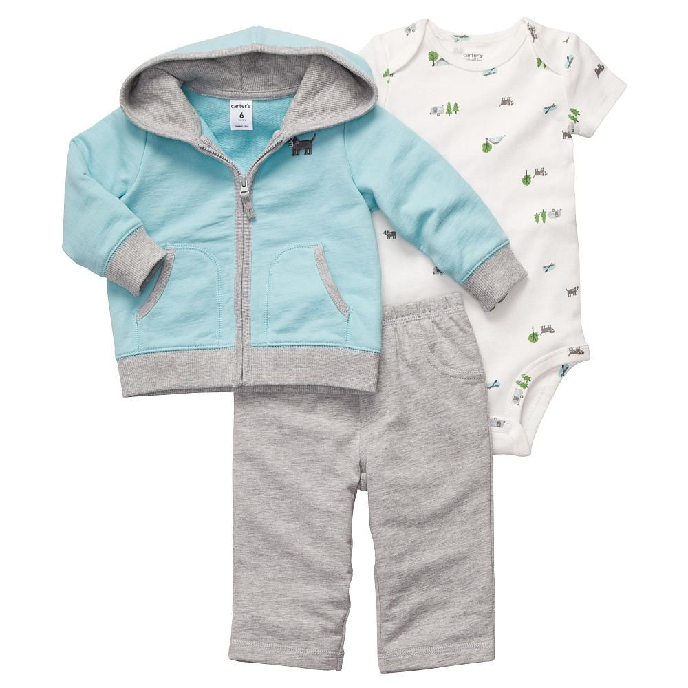 Carter S Boys Puppy 3 Piece Set With Embroidered Hoodie
