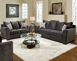 Elizabeth Charcoal Sofa Sofa And Loveseat Set Grey Sofa Living Room Living Room Grey