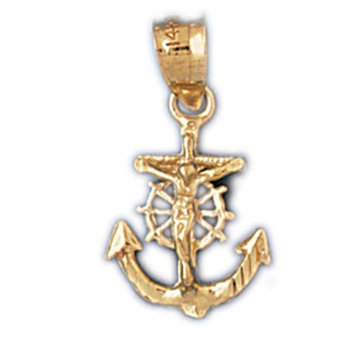 14k gold religious charm mariner cross 7845 Products