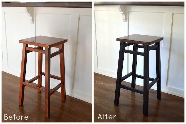 A Stunning Simple Diy Bar Stool Makeover Of Basic 15 Wooden Stools With Spray Paint And Wood Stain