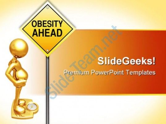 Obesity Road Sign Metaphor Powerpoint Templates And Powerpoint