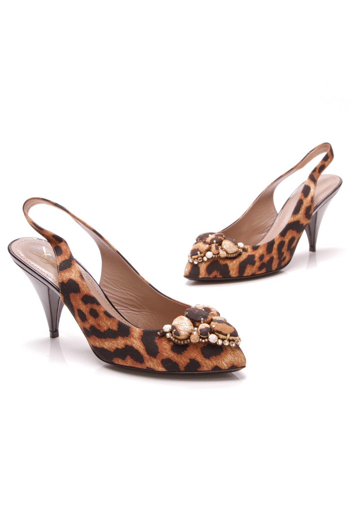 3bcb7a4aa03 Yves Saint Laurent Leopard Embellished Slingback Heels Ysl Heels
