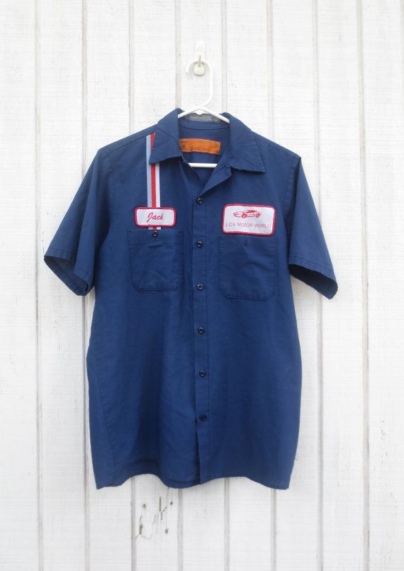 Vintage gas station shirt mechanic shirt 70 39 s men by for Mechanic shirts with logo
