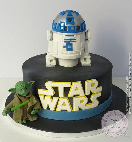 R2d2 Star Wars From Gateaux Sur Mesure Paris Formations Cake Design Ateliers Pate A Sucre Wedding Cak Gateau Star Wars Cake Design Gateau Design
