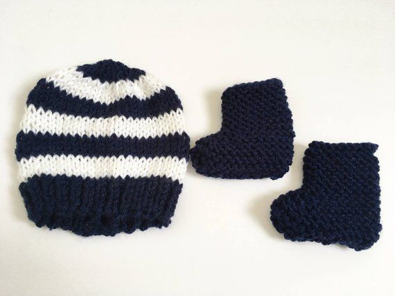 0ab5c369686 Newborn Knit Hat and Booties Set