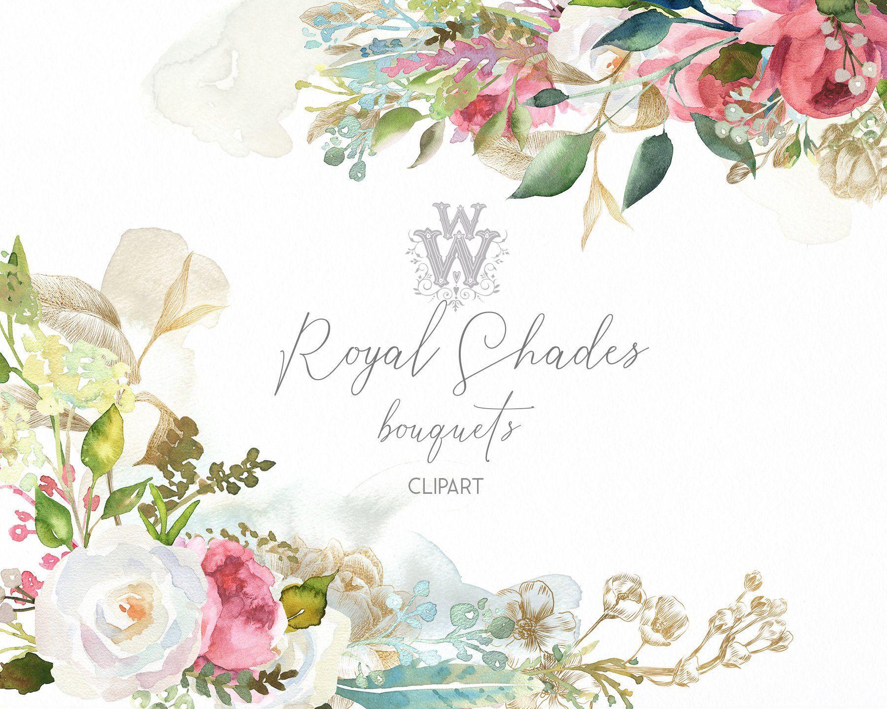 Watercolor Floral Wedding Bouquet Clipart Engagement Invitation
