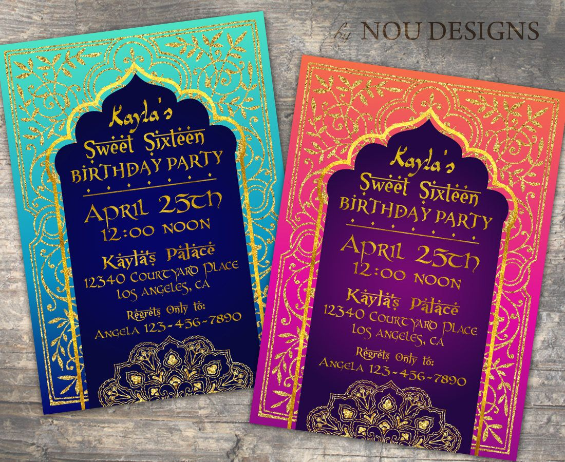 Arabian Nights Bollywood Theme Birthday Invitation Card- Printable ...