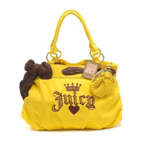 Juicy Couture Crown Embroidery Leather Yellow Handbags