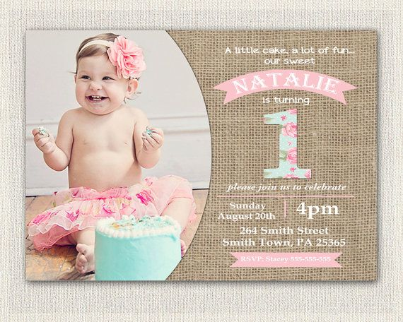 First Birthday Invitation Girls Shabby Chic Girls Pink Blue 1st 2nd - invitation for 1st birthday party girl