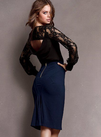"""Ruffle-back Skirt - Victoria's Secret - Fall 2012 / Super-stretchy ponte holds you in and accentuates your shape,  Exposed back zip closure,  Slim fit with pleat detail on back of skirt,  24 1/2"""" from waist,  Dry clean,  Imported rayon/nylon/elastane  $59.50 /   #285-445"""