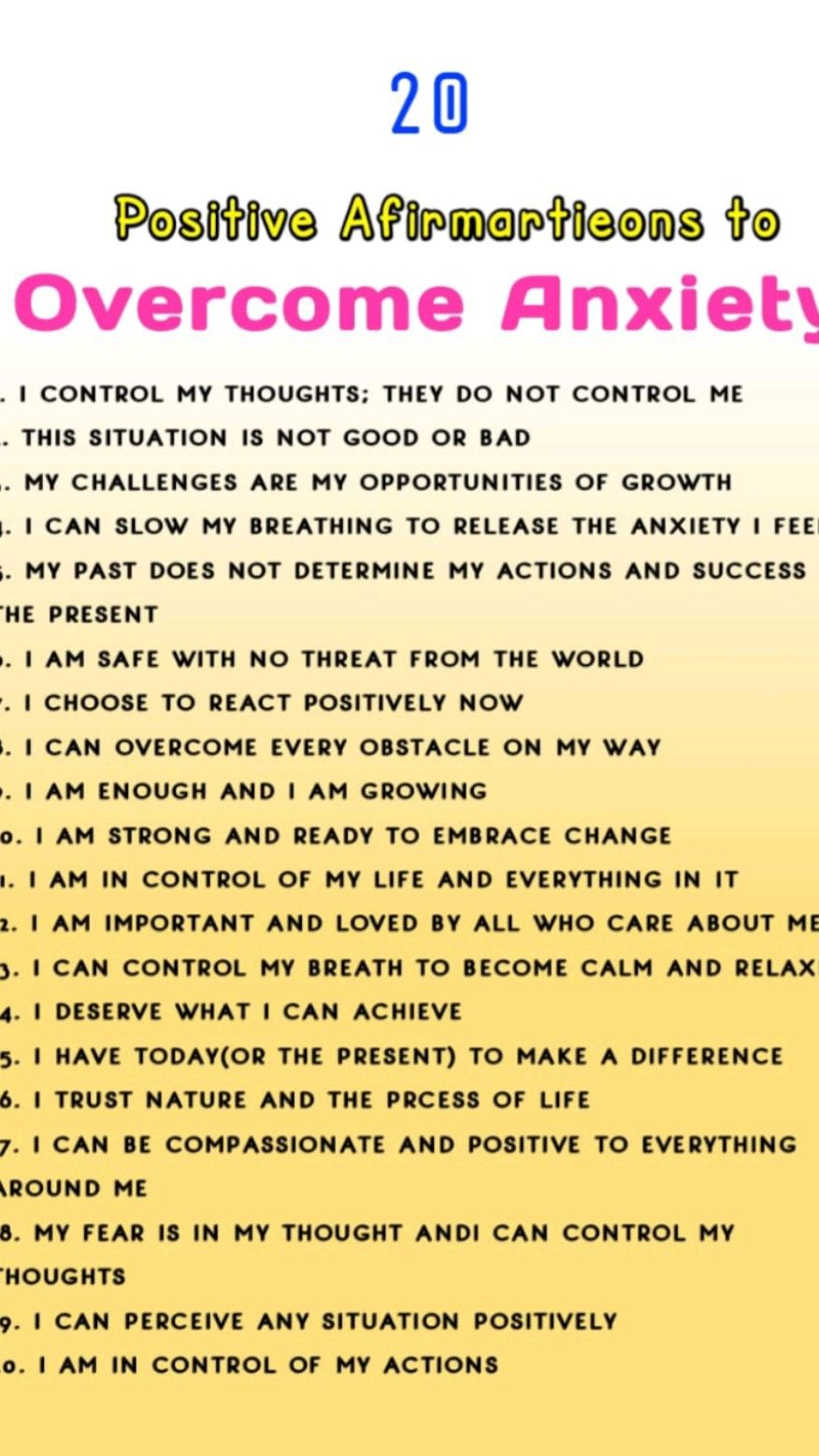 20 Positive Affirmations For Overcoming Anxiety | positive Affirmations | love Affirmations