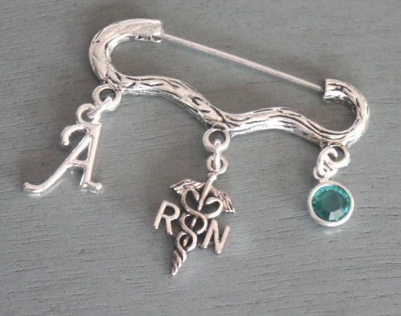 RN Brooch Pin, Letter Birthstone Brooch, Personalized RN