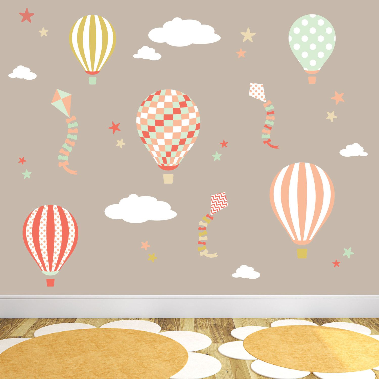 Hot Air Balloon Wall Decal Kites And Stars Wall Stickers Gender - Nursery wall decals gender neutral