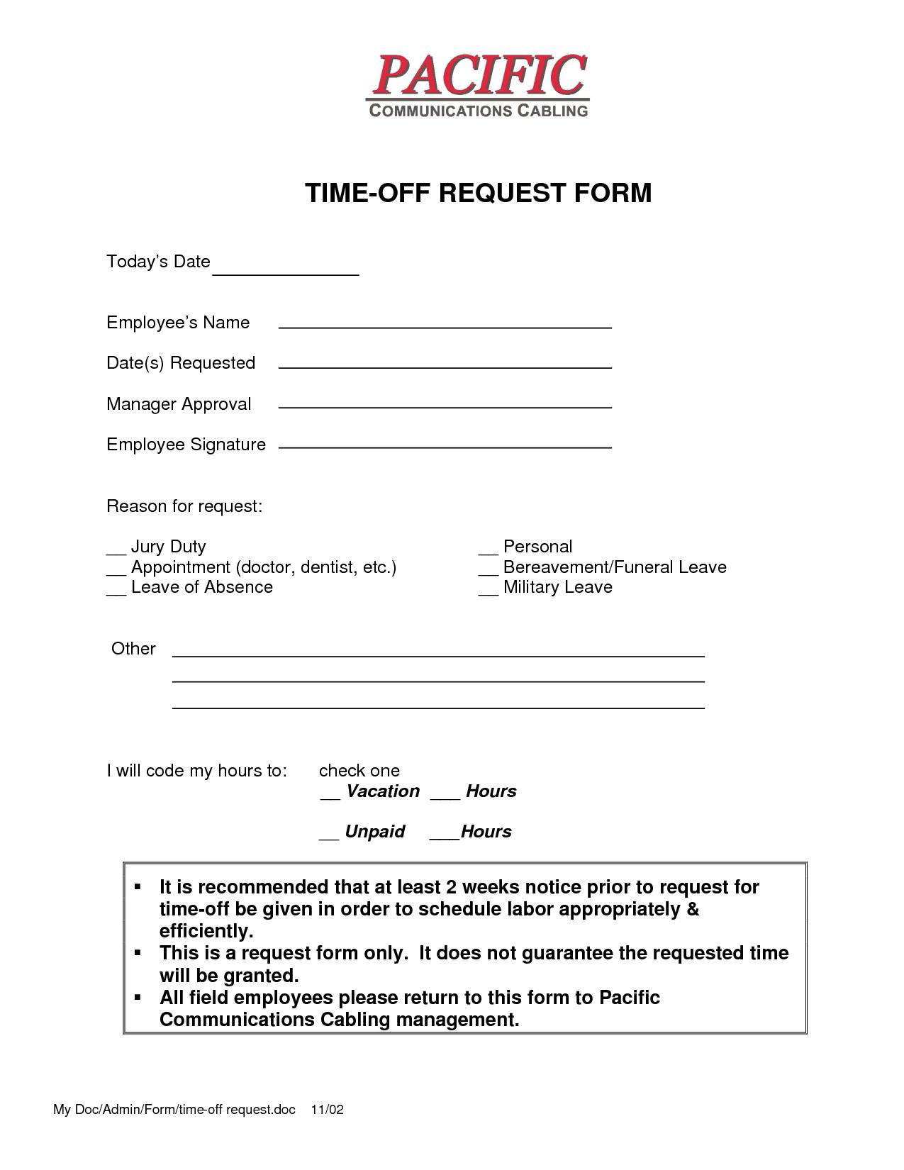 Leave Request Form Sample Timeoffrequestformtemplate2 1275×1650  Work  Pinterest .