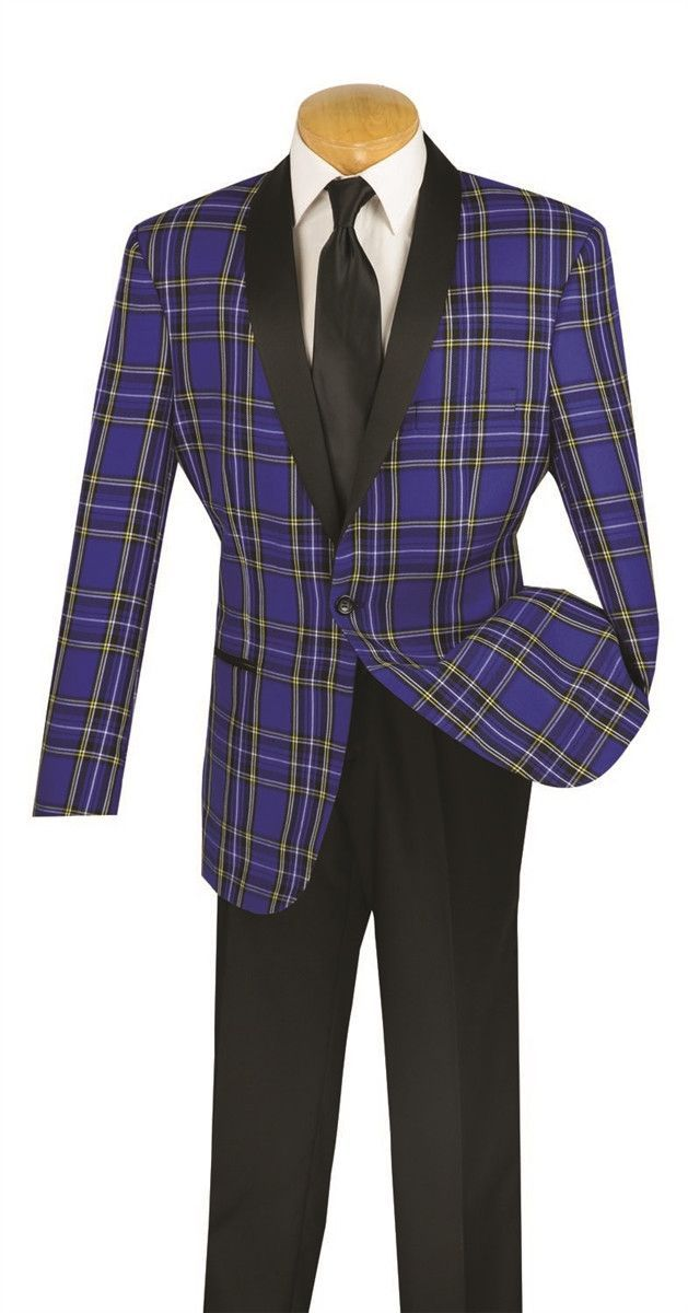 NEW WITH TAG MEN'S BLUE TUXEDO CLASSIC FIT WINDOW PANE DESIGN