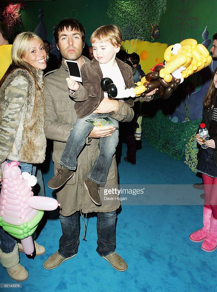 Musician Liam Gallagher, Nicole Appleton and their son Gene Appleton Gallagher arrive at the UK Gala Premiere of 'The SpongeBob SquarePants Movie' at Vue Leicester Square on February 6 2005 in London.