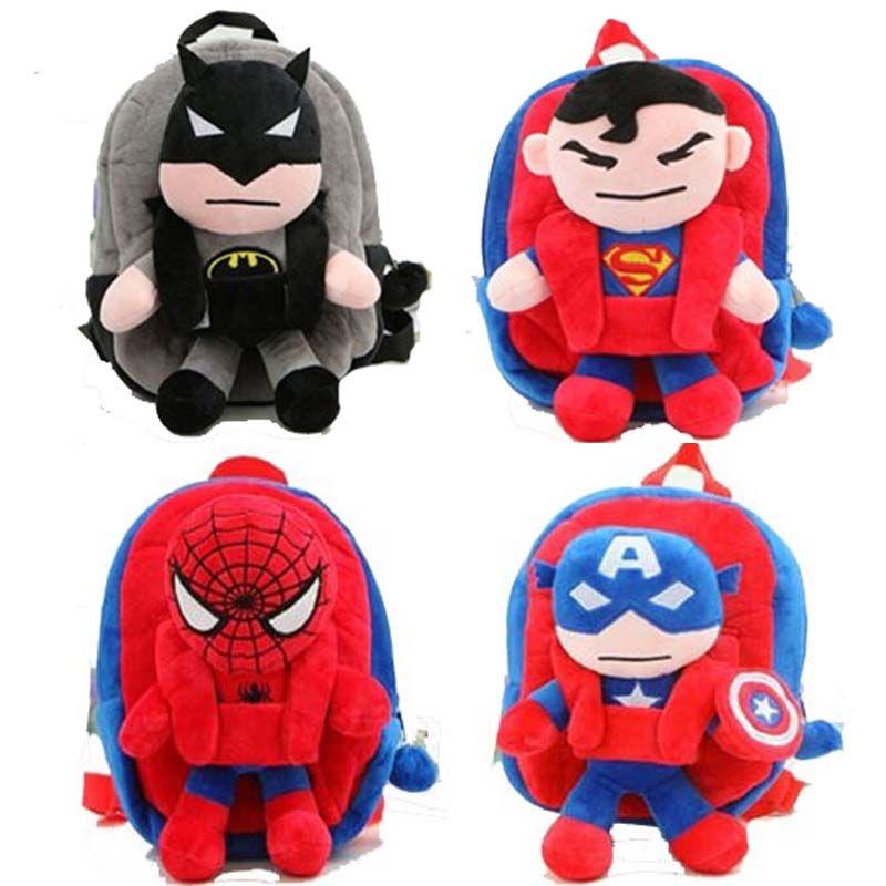 3D Superman Spiderman Batman Captains Plush Toys Kindergarten Boy girls Children s  School Bags Backpack Plush Doll For Kid Gift  Affiliate 5b7fac90d9d4f