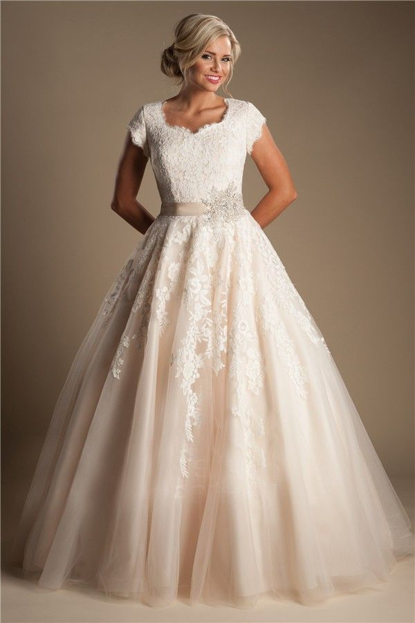 Modest ball gown short sleeve champagne colored lace for Champagne color wedding dresses