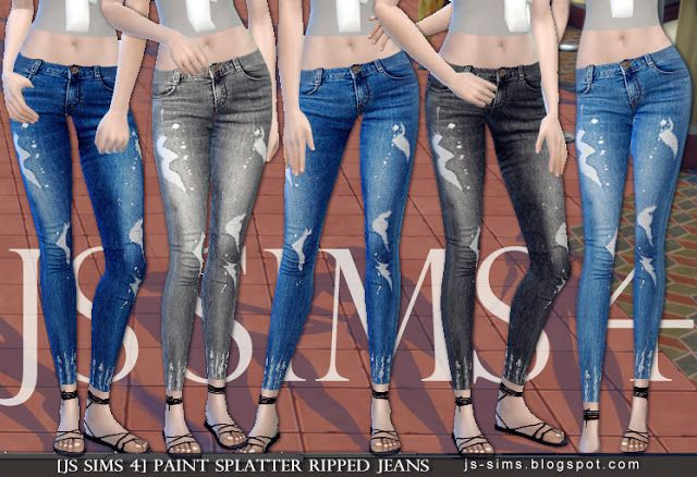 ff1209f8a18 Paint Splatter Ripped Jeans at JS Sims 4 via Sims 4 Updates | Sims ...
