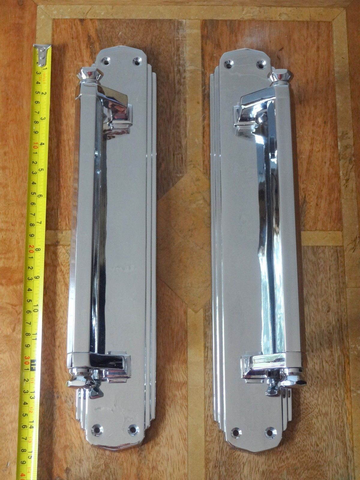 1 Pair Of Chrome Art Deco Style Door Pull Handles Large 15 Long So If You Want Us To Good Condition Ebay Art Deco Door Door Pull Handles Art Deco