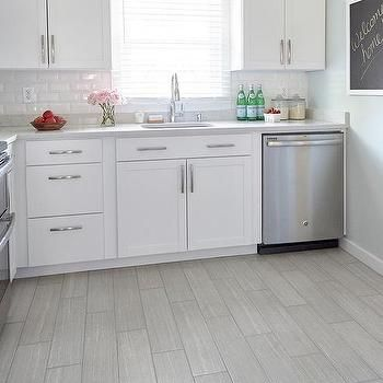 Best White Kitchen With Gray Wood Like Porcelain Floor Tiles 400 x 300