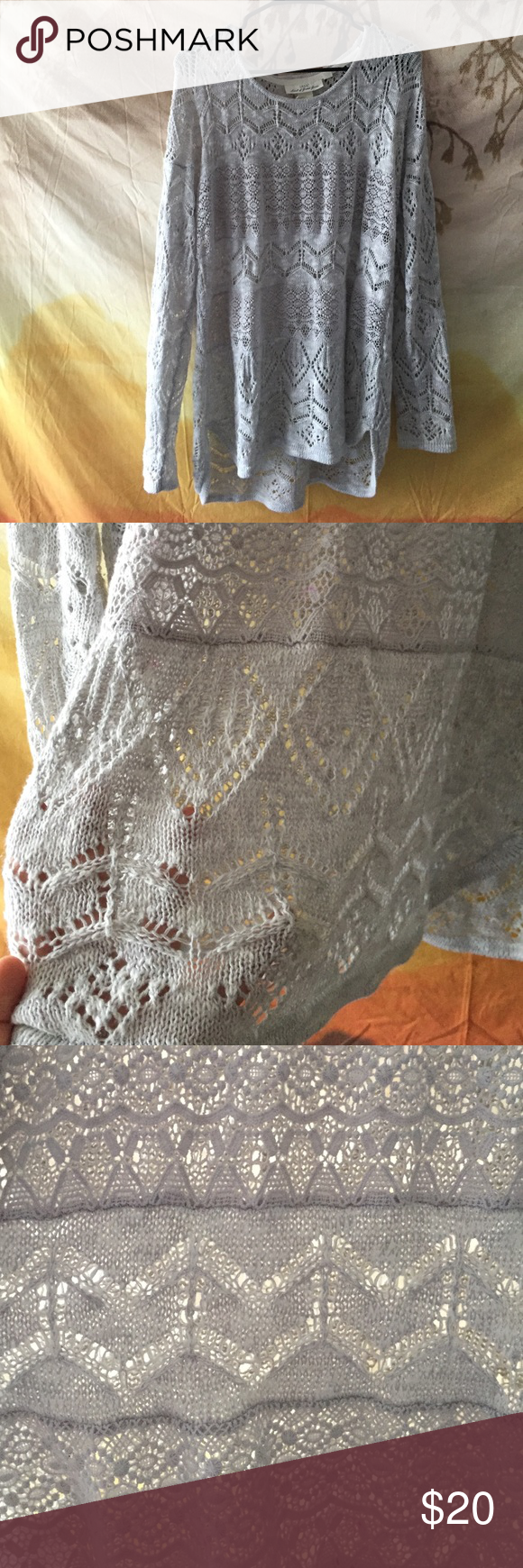 Gray lace sweater Medium gray loosing fitting lace sweater from Pac Sun! PacSun Sweaters