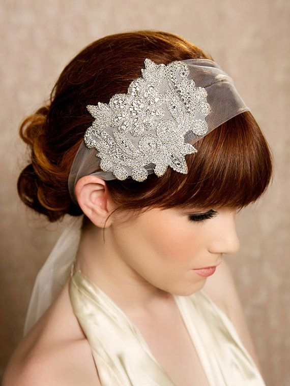 Crystal Headband Veil Head Wrap Art Deco Vintage Inspired Tulle Roaring