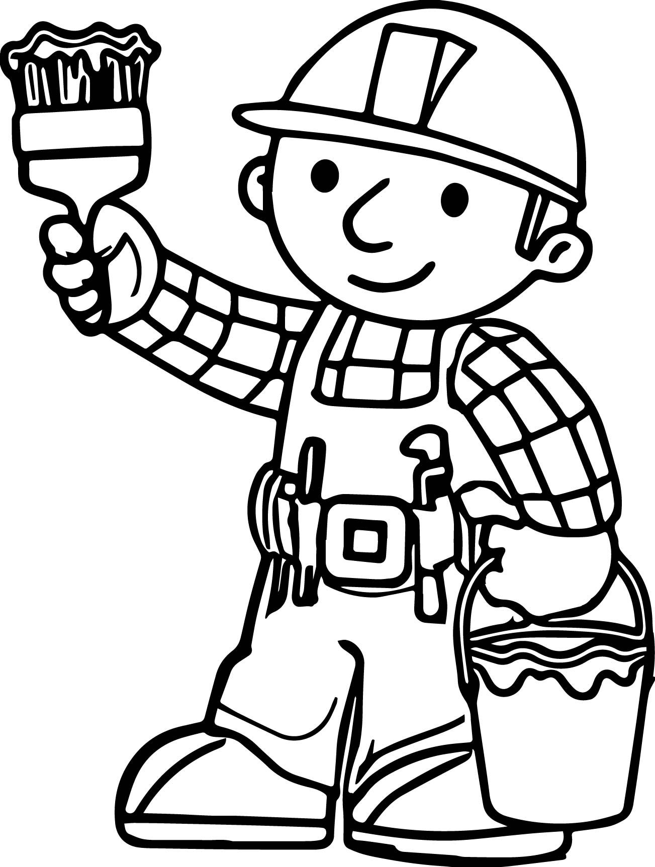 Nice Bob The Builder Lets Paint Coloring Page