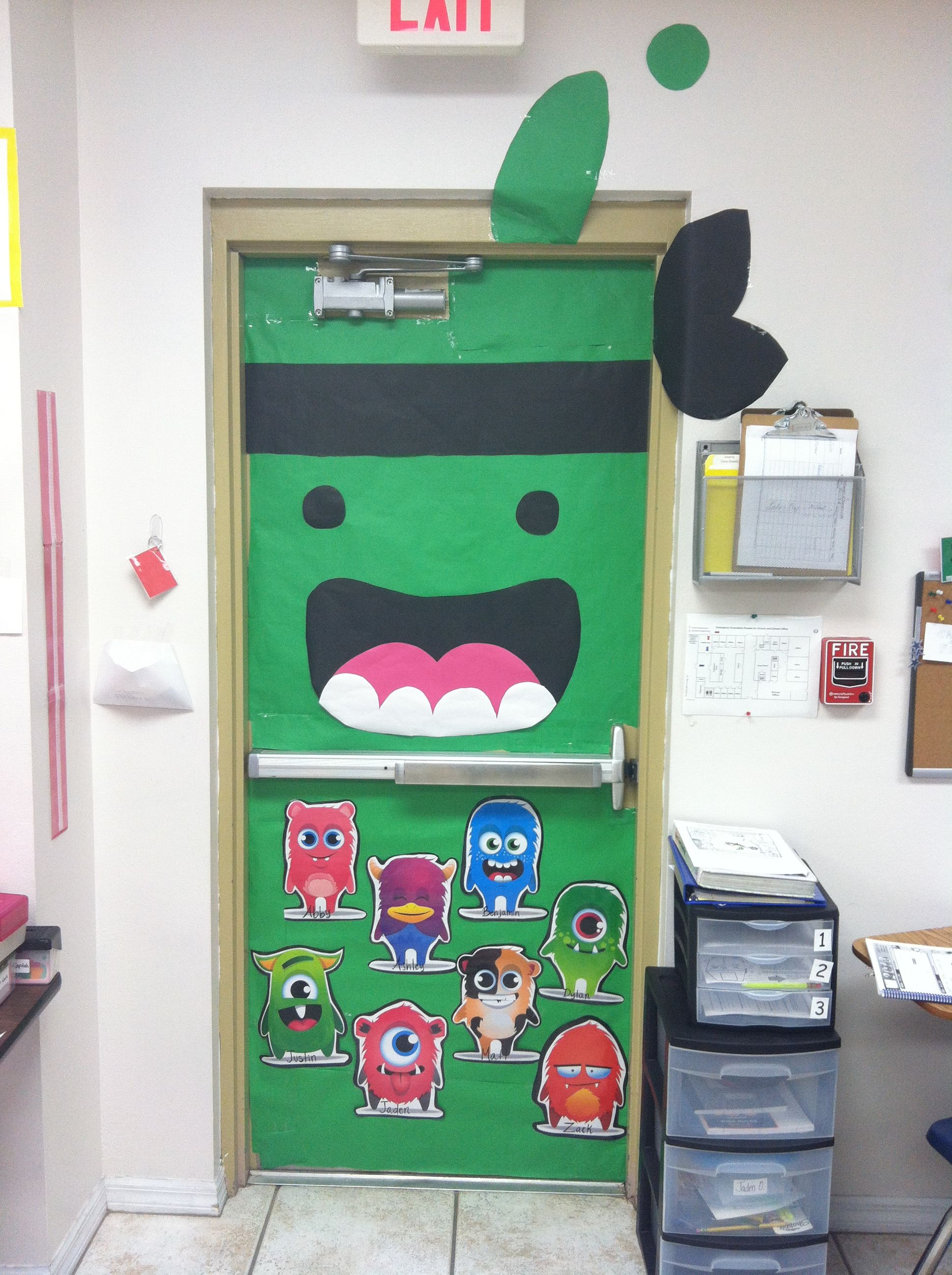 Monster Classroom Decor : Class dojo green ninja teacher monster classroom door